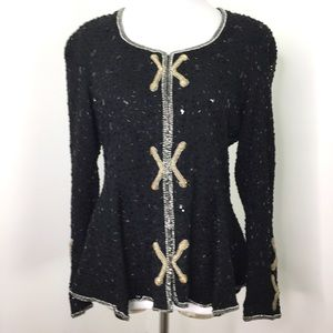 Vintage Black Embellished Beaded Blazer Jacket Top